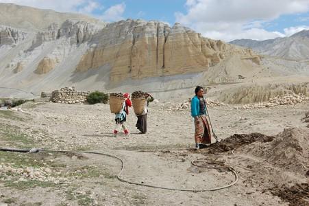 Dung sammeln ist Frauenarbeit. Unbezahlt. Frauen, die auf dem Bau arbeiten, bekommen einen kleinen Tagelohn.