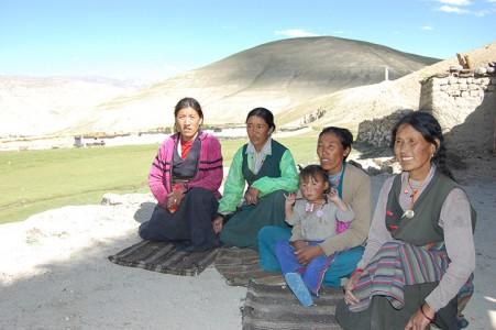 Vier der acht Frauen, die eine Kuh bekommen haben, jede im isolierten Chungjung.
